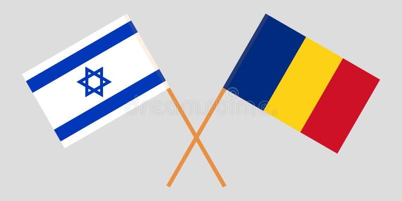 Roemenië en Israël De Roemeense en Israëlische vlaggen Officieel aandeel Correcte kleuren Vector vector illustratie