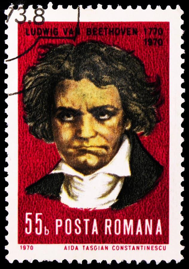 In Roemenië gedrukt postzegel toont 200 jaar vanaf de geboorte van Beethoven, serie, circa 1970 stock foto