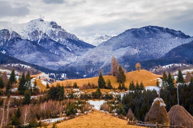 roemenië Het landschap van de berg in de winter stock afbeeldingen