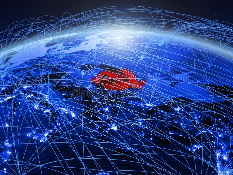 Roemenië op blauwe digitale aarde met internationaal netwerk die mededeling, reis en verbindingen vertegenwoordigen 3d royalty-vrije stock fotografie