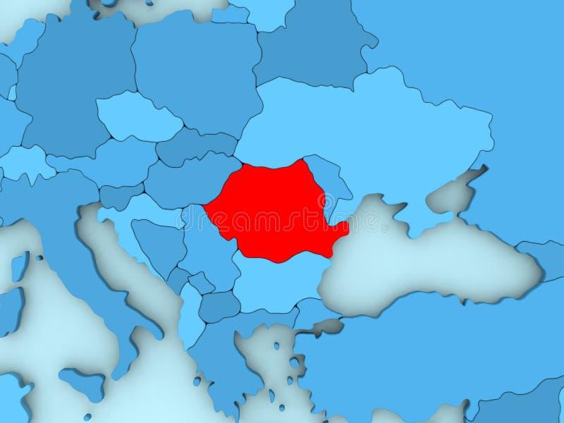 Roemenië op 3D kaart royalty-vrije illustratie
