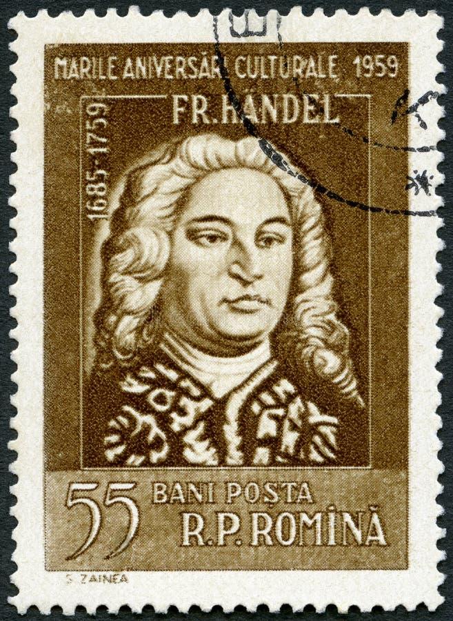 ROEMENIË - 1959: toont George Frideric Handel 1685-1759, serie Portraits royalty-vrije stock fotografie