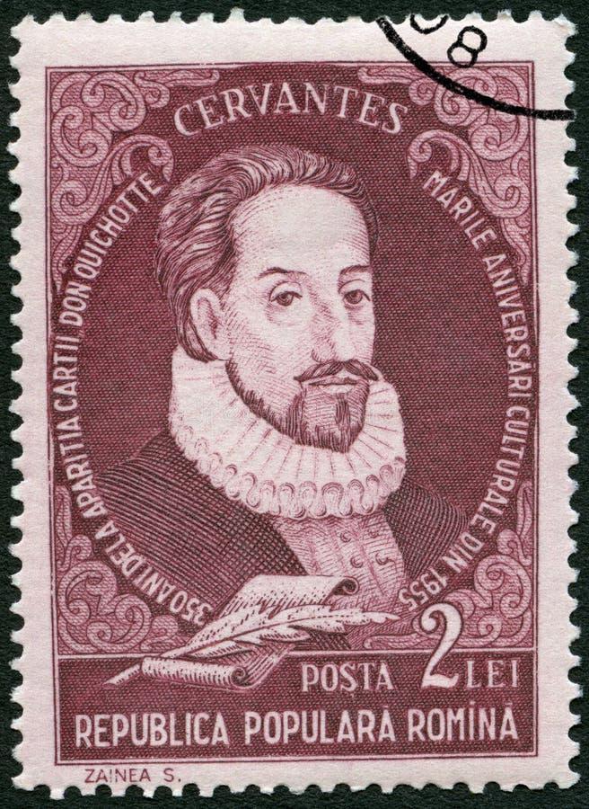 ROEMENIË - 1955: toont Miguel de Cervantes Saavedra 1547-1616, dichter, reeksportretten stock afbeeldingen