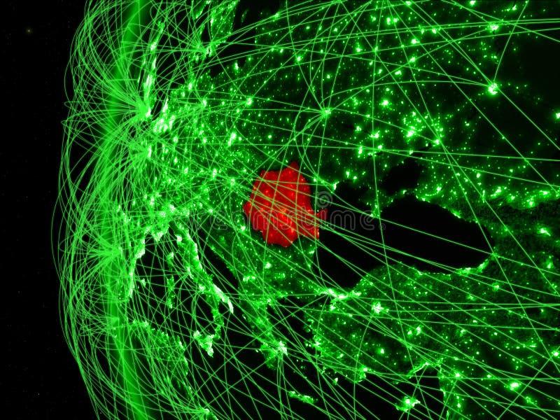 Roemenië van ruimte op groen model van Aarde met internationale netwerken Concept groene mededeling of reis 3D Illustratie royalty-vrije stock afbeelding