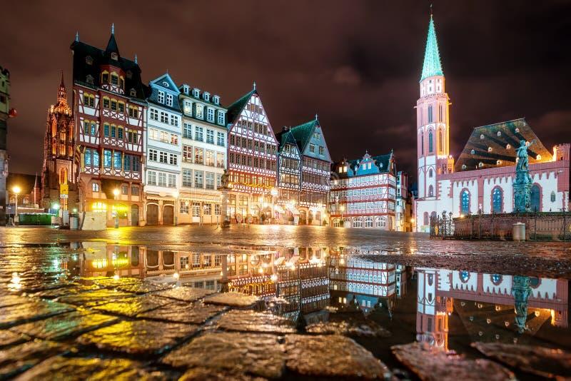 Frankfurt on Main city center, Germany, at night royalty free stock photography