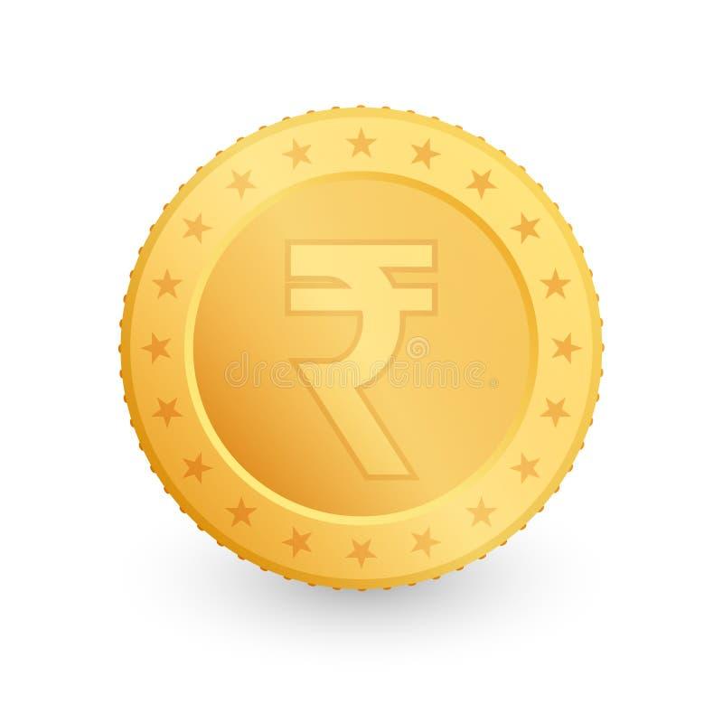 Roepie Gouden die muntstuk op witte achtergrond wordt geïsoleerd Vector illustratie vector illustratie