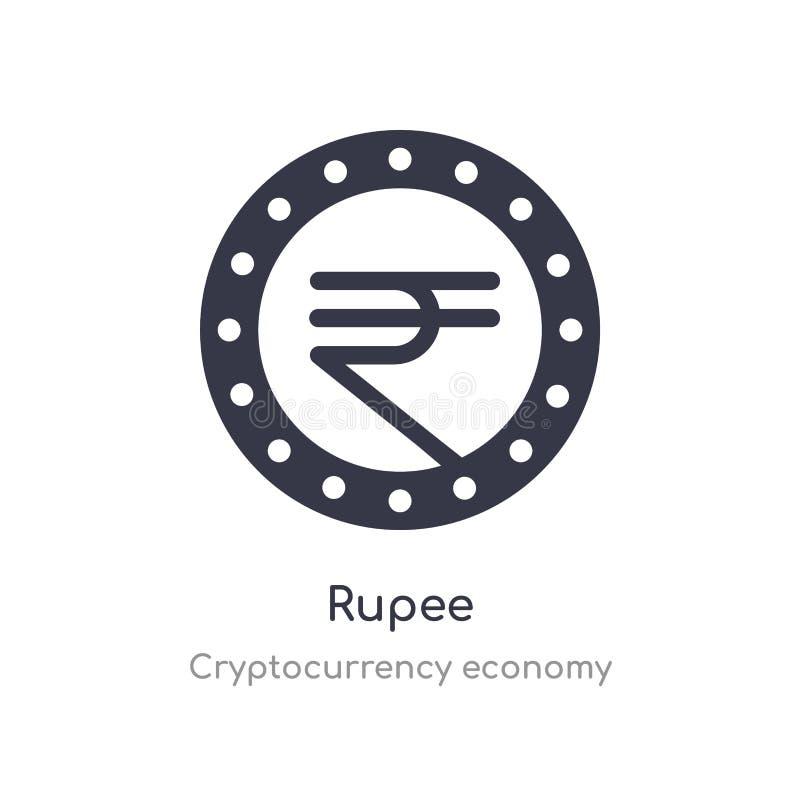 Roepiepictogram de geïsoleerde vectorillustratie van het Roepiepictogram van de inzameling van de cryptocurrencyeconomie editable royalty-vrije illustratie