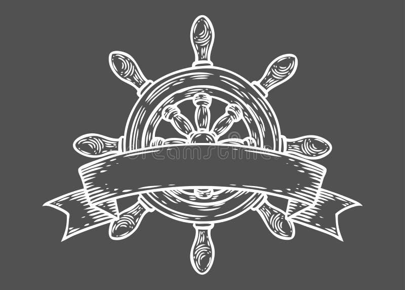 Roer vectorhand getrokken illustratie gegraveerde stijl Retro uitstekende zeevaartkrabbel stock fotografie