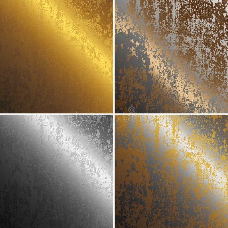 Roestig col., het koper, het goud en het zilver van metaaltexturen royalty-vrije illustratie