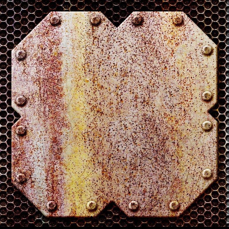 Roestig stuk van ijzer, op het achtergrond 3d metaalnetwerk, illustrat royalty-vrije stock foto