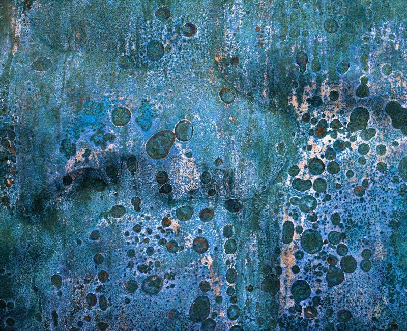 Roestige bruine en blauwe achtergrond royalty-vrije stock afbeeldingen