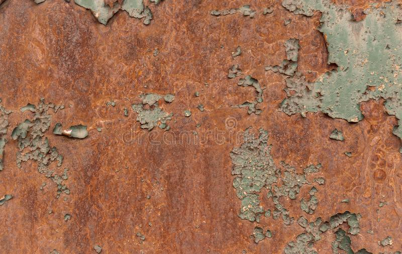 Roestige bruine ijzertextuur, groene oude omheining met schilverf Geweven behang voor ontwerp stock illustratie