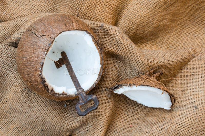 Roestige die sleutel in gebarsten kokosnotenshell wordt gevonden op jutedoek stock afbeeldingen