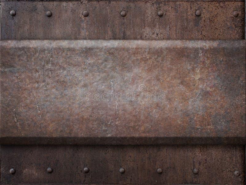 Roestige het metaaltextuur van het tankpantser met klinknagels zoals royalty-vrije stock fotografie