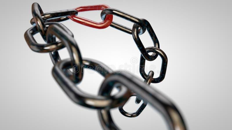 Roestige ketting met de zwakste verbinding royalty-vrije illustratie