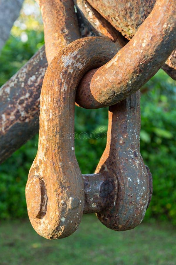 Roestige kettingsverbindingen op groot anker in tuin royalty-vrije stock foto's