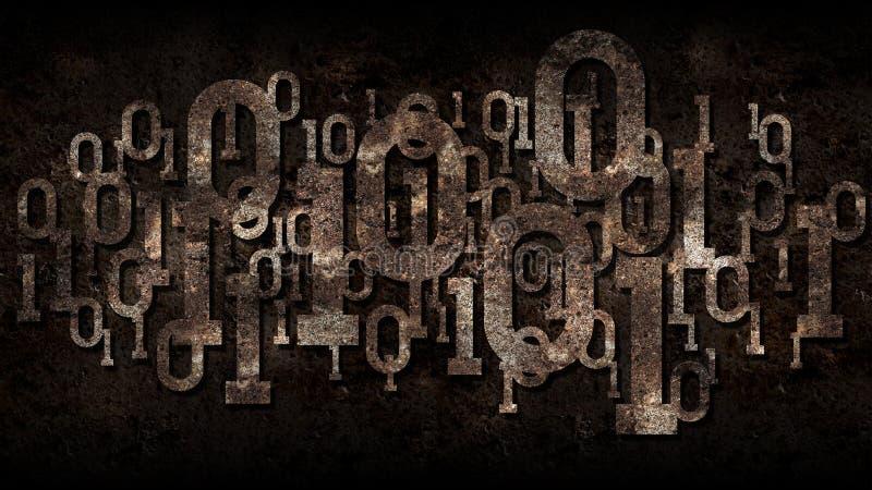 Roestige matrijs binaire code, verouderde software, donkere geroeste achtergrond met digitale binaire code, de wolkendienst, grot royalty-vrije stock fotografie