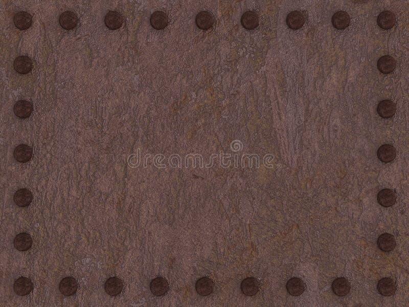 Roestige metaalplaat met klinknagelsachtergrond stock illustratie
