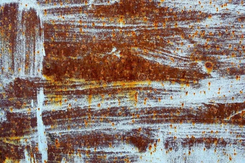 Roestige metaaltextuur met het pellen van blauwe verf royalty-vrije stock afbeelding