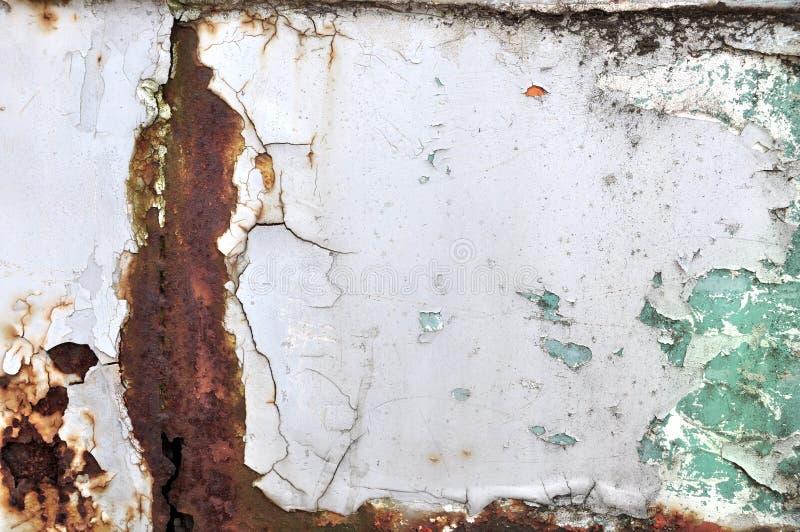 Roestige metaaltextuur met sjofele verf royalty-vrije stock afbeeldingen