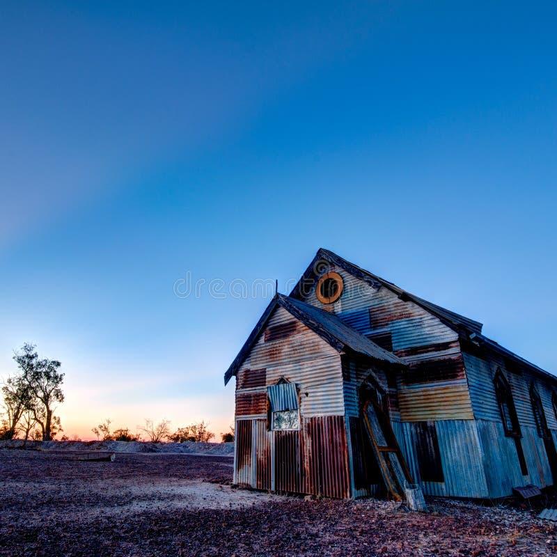 Roestige oude kerk bij Bliksem Ridge Australia 1x1 royalty-vrije stock afbeeldingen