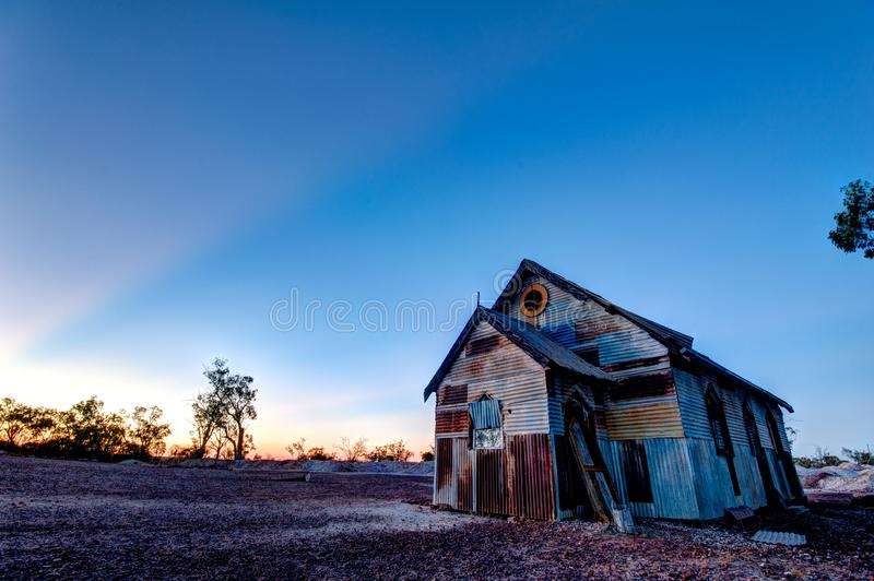 Roestige oude kerk bij Bliksem Ridge Australia 3x2 royalty-vrije stock foto's