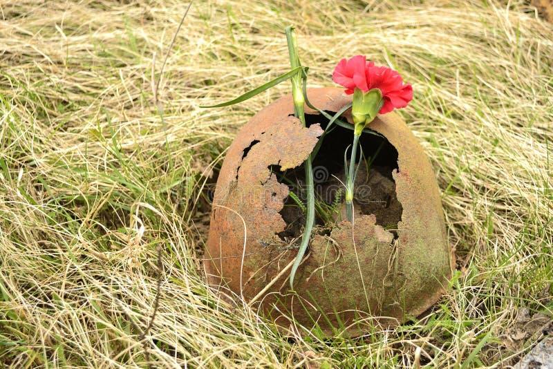 Roestige sovjetlegerHelm met bloem royalty-vrije stock foto
