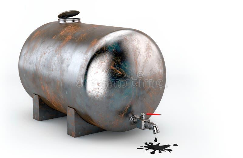 Roestige tank met olie royalty-vrije stock afbeelding