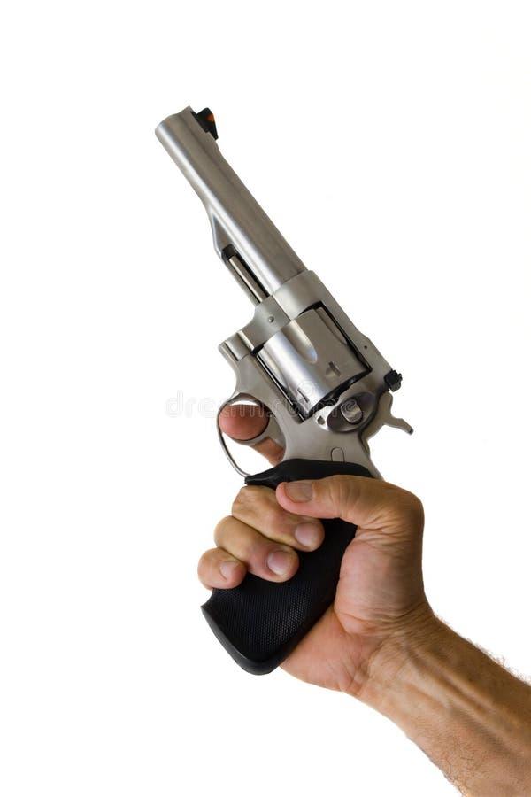 Roestvrij staal 44 ter beschikking gehouden het pistool van de Anderhalve liter fles stock fotografie