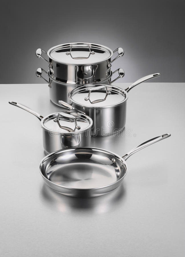 Roestvrij staal Cookware royalty-vrije stock foto's
