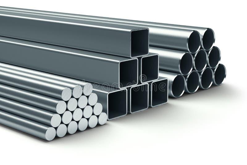 Roestvrij staal. Groep gerold metaal. royalty-vrije illustratie
