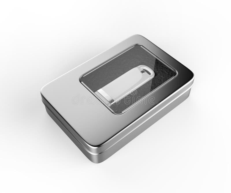 Roestvrij staal of tinmetaal glanzend zilveren USB die dooscontainer met vensterdeksel verpakken op witte achtergrond voor spot o royalty-vrije illustratie