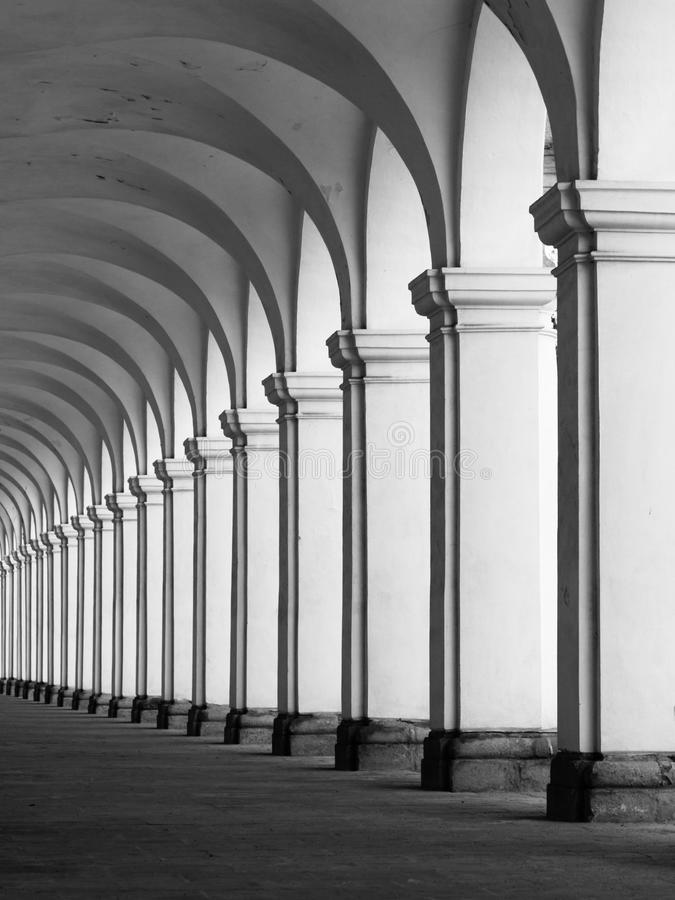 Rof of columns in colonnade. Row of column in colonnade. Perspective view of long arc vault corridor. Black and white image royalty free stock image