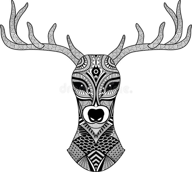 Rogacz głowa stylizująca w zentangle stylu tatuaż plemienne projektu wektor ilustracja wektor