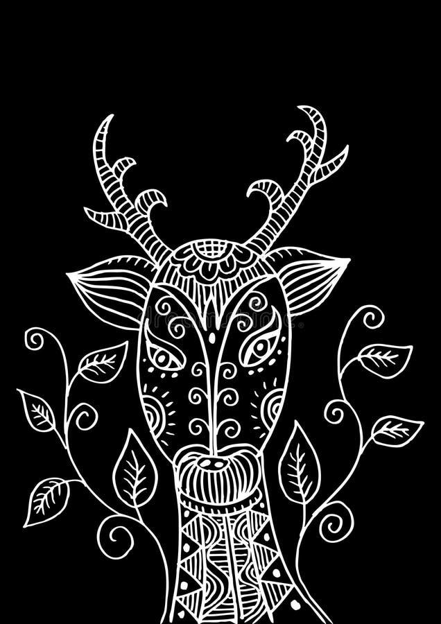 Rogacz głowa w dekoracyjnym stylu ilustracja wektor