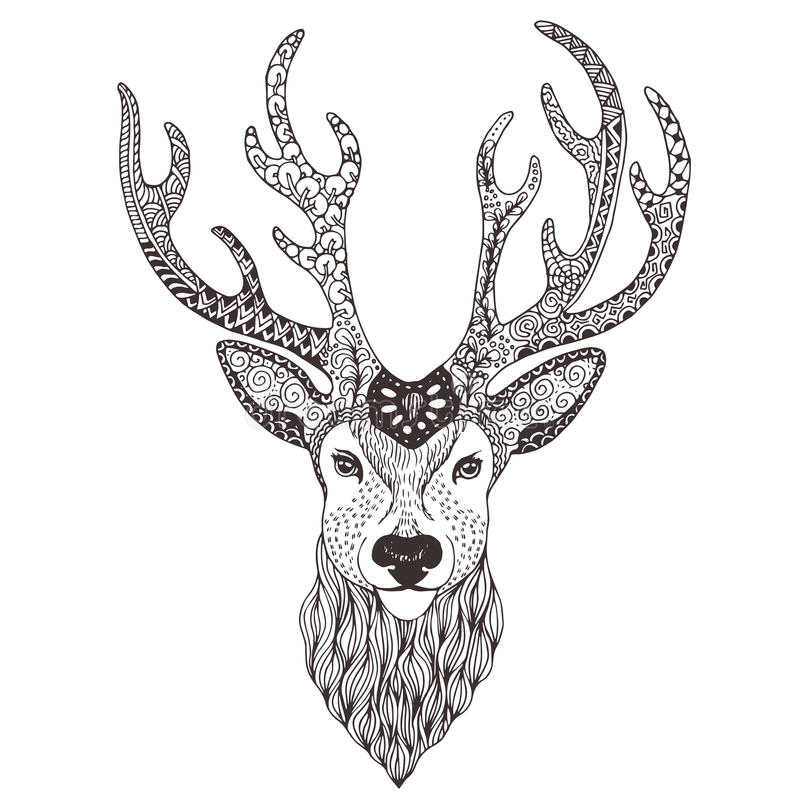 Rogacz głowy tatuażu mehendi fotografia royalty free