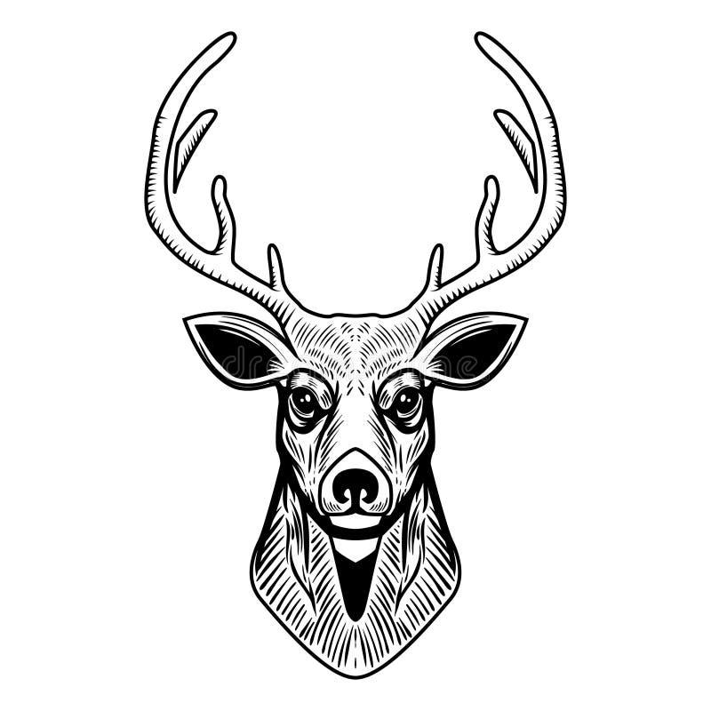 Rogacz kierownicza ilustracja odizolowywająca na białym tle Projektuje element dla emblemata, znak, plakat, etykietka royalty ilustracja