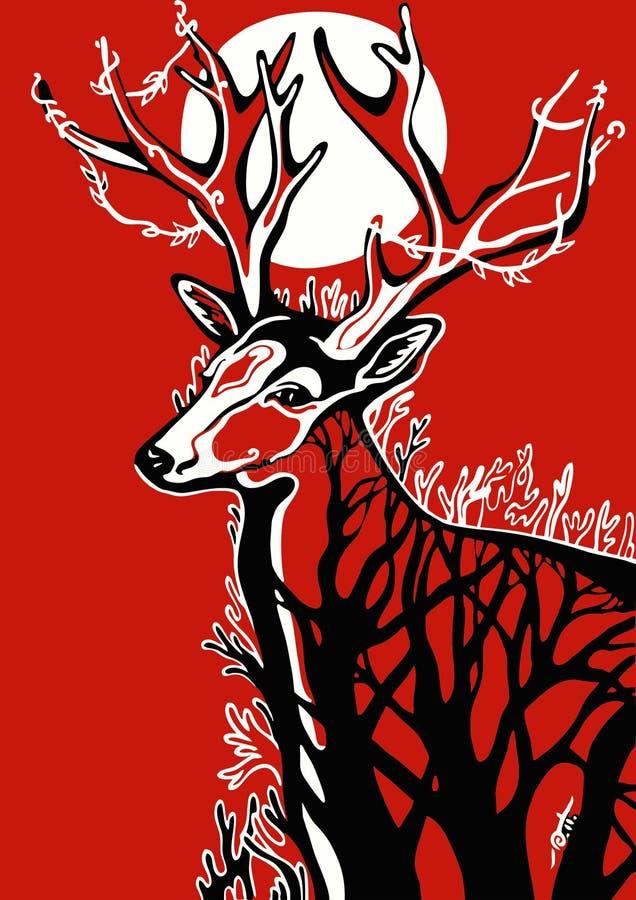 Rogacz na czerwonym tle obrazy royalty free