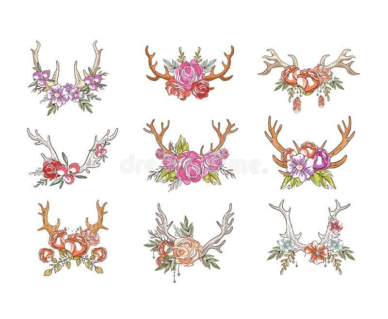 Rogacz uzbrajać w rogi z kwiatami ustawiającymi, ręka rysujący kwiecisty skład z poroże wektorowymi ilustracjami na białym tle ilustracji