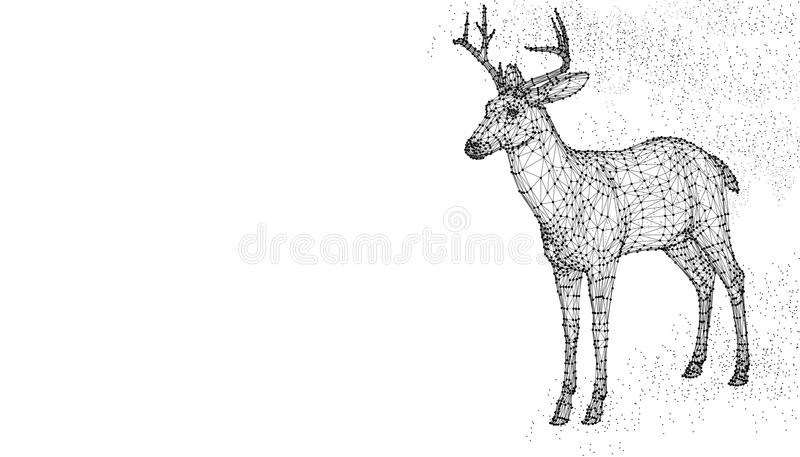Rogacza kierowniczy 3d wektorowy ilustracyjny zwierzę Abstrakcjonistycznego wirframe wieloboka trójboka geometryczny tło Niscy po ilustracji
