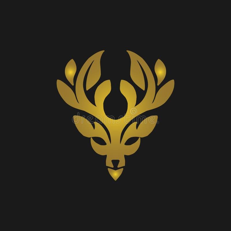 Rogacza logo kierownicza złocista ikona Jelenia ikony sztuka Jelenia ikona eps Jeleni ikona wizerunek royalty ilustracja