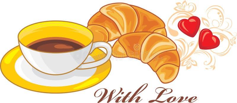 rogaliki kawę trzy filiżanki Z miłością royalty ilustracja