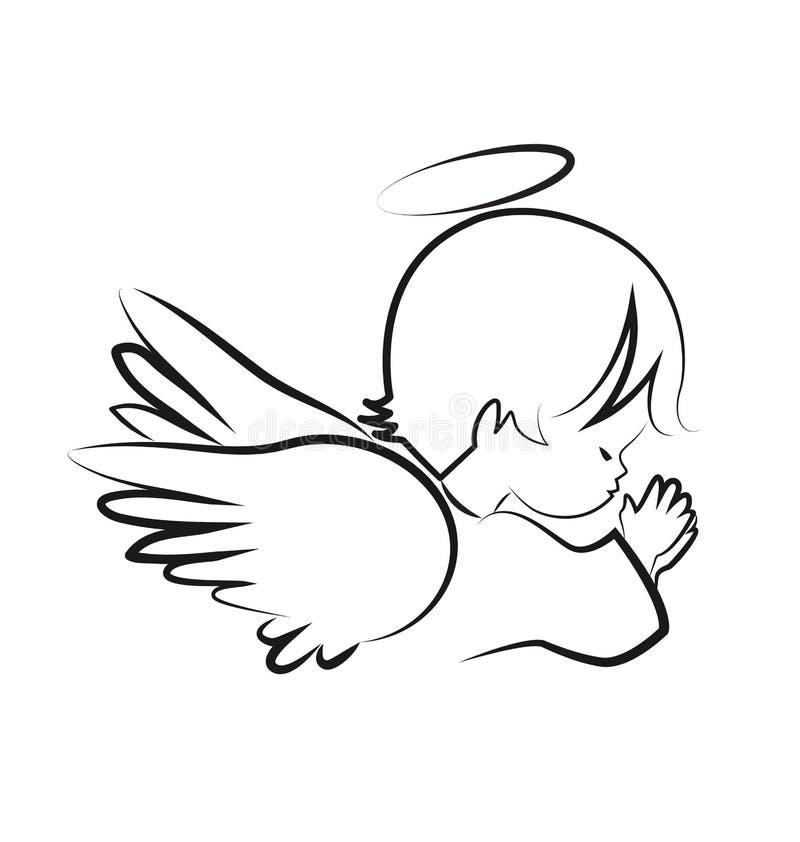 Rogando al niño del ángel, crea el vector del icono libre illustration