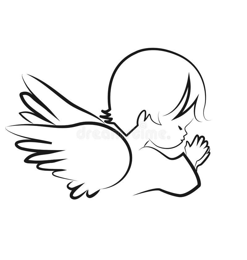 Rogando al niño del ángel, crea el vector del icono stock de ilustración