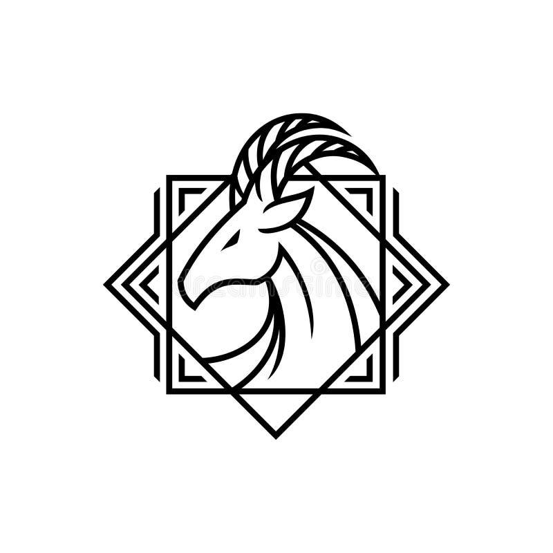 Rogatej jeleniej kózki głowy konturu elegancki emblemat ilustracja wektor