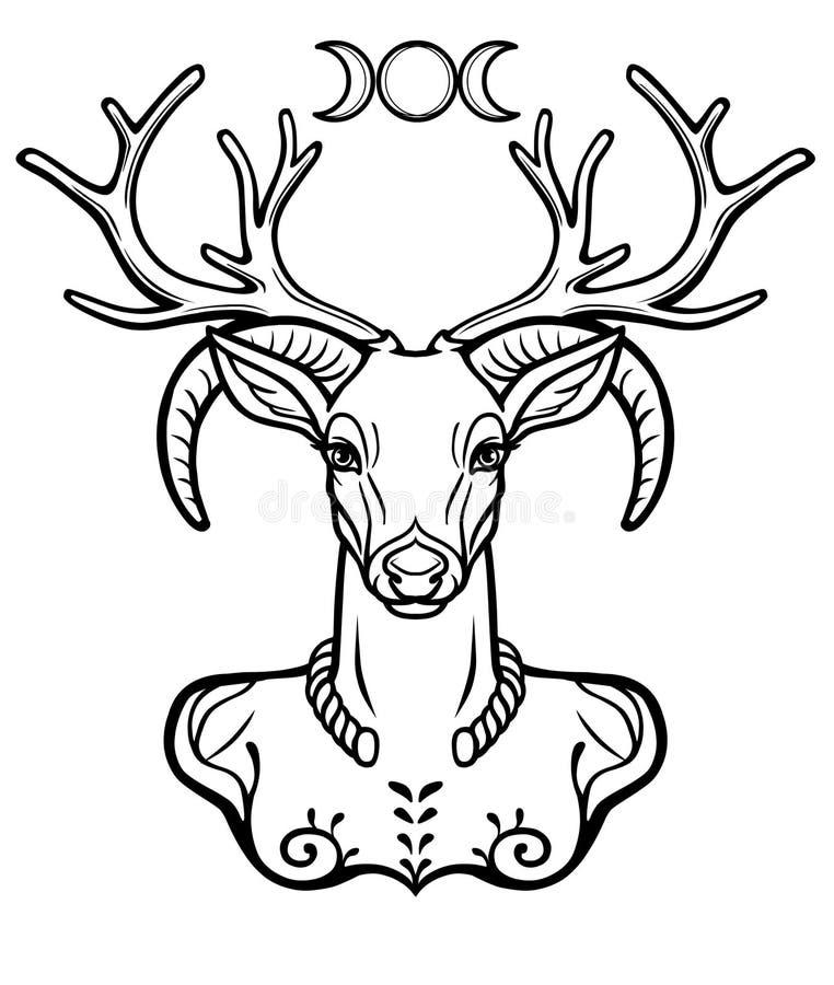 Rogaty bóg Cernunnos Mistycyzm, ezoteryk, pogaństwo, okultyzm ilustracja wektor