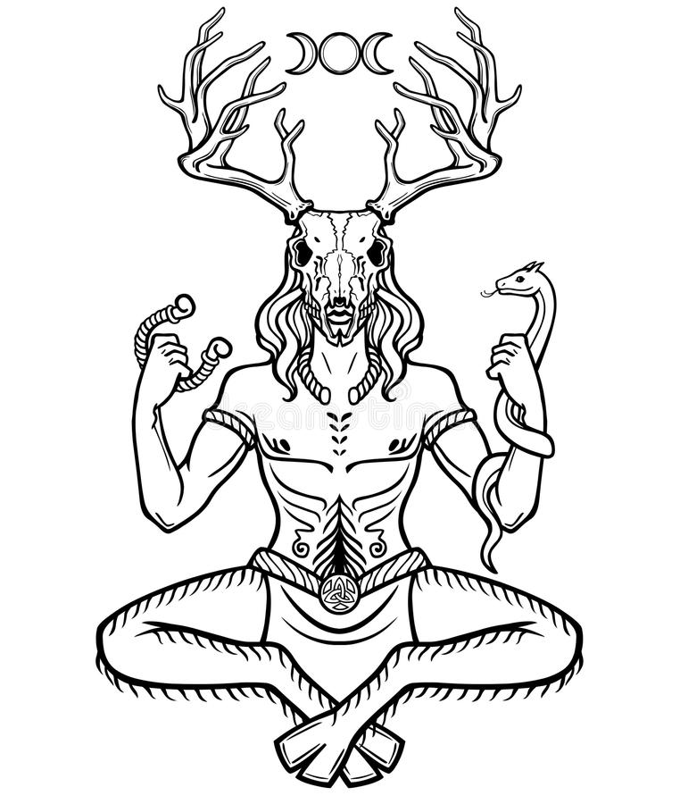 Rogaty bóg Cernunnos Mistycyzm, ezoteryk, pogaństwo, okultyzm ilustracji