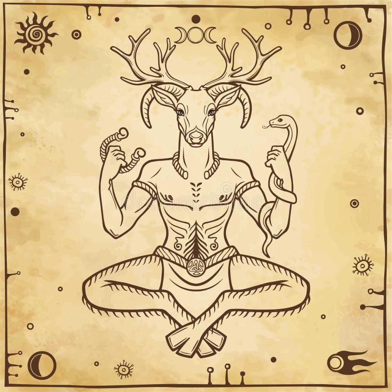 Rogaty bóg Cernunnos Mistycyzm, ezoteryk, pogaństwo, okultyzm royalty ilustracja