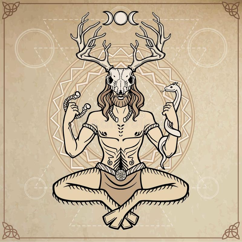 Rogaty bóg Cernunnos Mistycyzm, ezoteryk, pogaństwo, okultyzm również zwrócić corel ilustracji wektora ilustracji