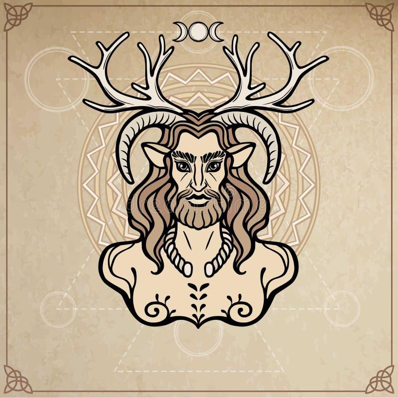 Rogaty bóg Cernunnos Mistycyzm, ezoteryk, pogaństwo, okultyzm również zwrócić corel ilustracji wektora royalty ilustracja